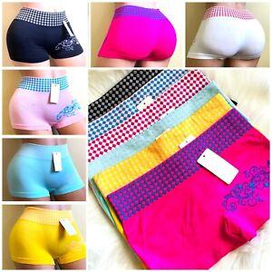 6 BOYSHORTS Seamless SEXY 2 TONE PANTIES UNDIES Underwear SPORT SHORTIE Regular
