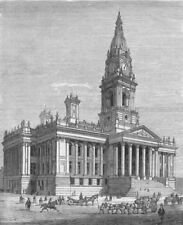 BOLTON. Royal visit to-new Town Hall, antique print, 1873