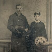 Antique Early Tintype Photograph Young Couple Man Woman ID Alice & Hugh Barker