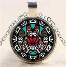 Native American Cabochon Glass Tibet Silver Chain Pendant  Necklace