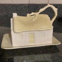 Belleek Yellow House Branch Butter Cheese*6th Mark-Green Label* Made in Ireland