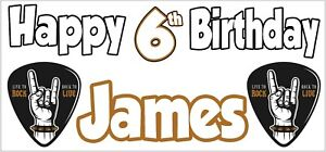 Rock Metal 6th Birthday Banner X2 Party Decorations Boys Girls Kids ANY NAME