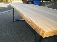 Eiche Esstisch Baumkanten 220 x 100 cm Gestell  Edelstahl,  Platte voll massiv