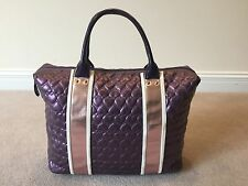 NWOT JUSTIN BIEBER Tote Satchel Hearts Purple Rose Gold Girlfriend Handbag