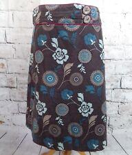 """White Stuff skirt 12 velvet brown grey blue Waist 32"""" length 23"""" midi cotton"""