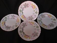 SHELLEY ENGLISH PORCELAIN FOUR SIDE PLATES IN COLUMBINE