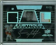 2008 09 UD Black Brian Leetch Lustrous Materials Dual Jersey Auto 3 col 5/25 HOR