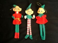 VINTAGE LOT OF 3 ELF CHRISTMAS TREE ORNAMENTS MADE IN JAPAN SHABBY CHIC GNOME