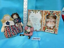 Vintage Small Dolls Lot: Marie Osmond Bisque Mother MIB, Folk Americana 4p DH39