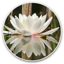 2 x Vinyl Stickers 10cm - Pretty White Water Lily Spiritual Cool Gift #12357