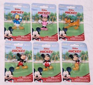 6 Lot Disney Junior Mini Figures Minnie Mouse Mickey Mouse Pluto Donald Duck NIP