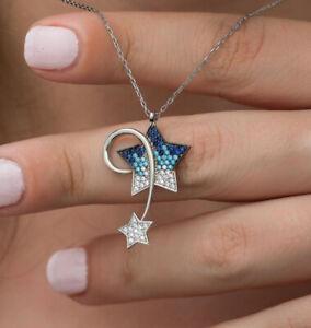 1.20ct Round Saphire, Aquamarine & Diamond Womens Star Chain Pendant 925 Silver