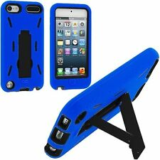 iPod Touch 5 6 Gen - HARD & SOFT RUBBER HYBRID CASE COVER BLUE BLACK KICK STAND