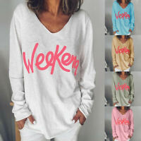 Autumn Women's Letter Printed V-neck T-Shirt Long-Sleeved Loose Long Tops Blouse