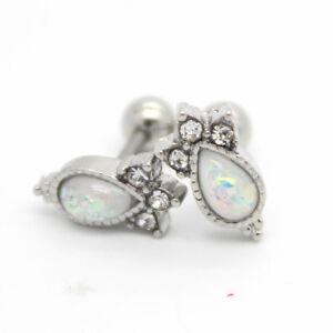 Vintage white opal tragus cartilage helix bar ear stud 6mm