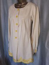 Rebecca Taylor Linen & Cotton Ivory Button Front Jacket, Scalloped Hem SZ 4