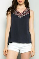 THML Women's Embroidered Print Navy Tank Top Hi Low Hem Small S $58 NEW