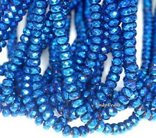 """6X4MM BLUE HEMATITE GEMSTONE BLUE FACETED RONDELLE 6X4MM LOOSE BEADS 16"""""""