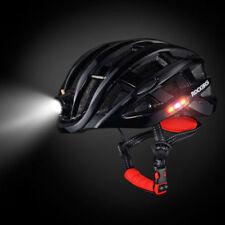 RockBros Road Bike Night Ultralight Helmet USB Recharge Size 57-62CM Black Color