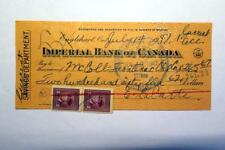 1947 Red Indian memorabilia -  a dealer cheque to the Frontenac Oil Company
