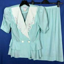 Leslie Fay Vtg Aqua Blue Dress Top/Skirt Set Peplum Ruffle Embroidered Collar 10