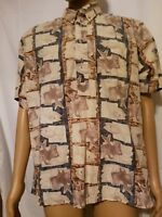 Kahala Hawaiian Shirt 100% Cotton Tan Biege Mens XL Extra Large Made in Hawaii