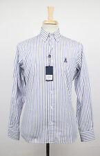 New. PSYCHO BUNNY by ROBERT GODLEY White Striped Cotton Dress Shirt Size S $175
