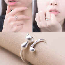 Fashion Simple Women Cat Long Tail Rings Animal Finger Open Adjustable Jewelry