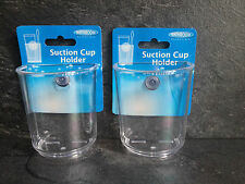 2  CLEAR PLASTIC SUCTION FITTING TOOTHBRUSH HOLDERS SUCTION CUP HOLDER NEW