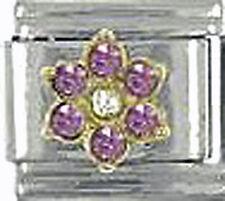 Italian Charm 9mm Birthstone June Pink Flower