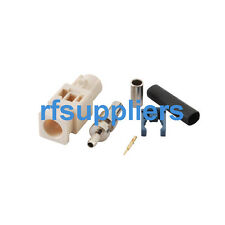 Fakra B white crimp male male connector for RG316 RG174 LMR100