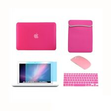 "5 in1 Rubberized HOT PINK Case for Macbook White 13"" +Key Cover +LCD + Bag+Mouse"