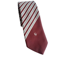 Christian Dior Tie Burgundy Red Grey Striped Formal Work Vintage Retro 269000