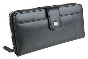 City Flyer RFID Genuine Leather Women Wallet Zip Card Large Capacity Clutch