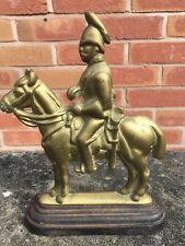 Antique Large Heavy Brass Door Stop Cavalry Soldier on Horseback - Iron base