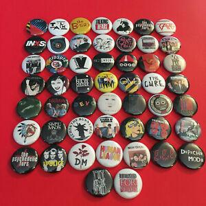 "50  Lot 80's New Wave Rock Post Punk Alternative Band Buttons Pins 1"" Pinbacks"
