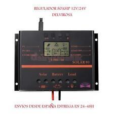 REGULADOR SOLAR 80A 12/24V CON DISPLAY LCD PWM ENTREGA 24-48H