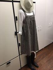 SM2 JAPAN SAMANTHA MOSHE BLACK COMBO Gingham Check Linen Cotton Jumper Dress