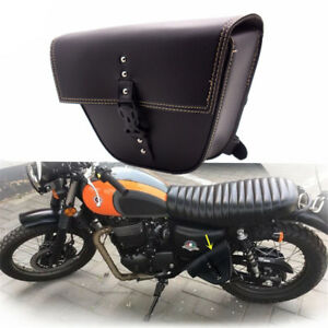 Black ATV Motorcycle Saddlebag Tool Travel Bag Pocket Strap Buckle Storage Box