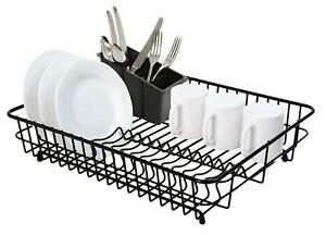 Delfinware Large Plastic Coated Black Dish Drainer & Cutlery Basket Sink Rack