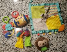 6 Plush Rattles Stroller Teether Toy Lot Infant Baby Toys