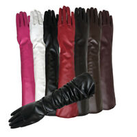 Lady Solid Color Faux Leather Full Finger Long Arm Gloves Stage Mittens Eager