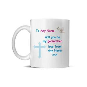 PERSONALISED will you  be my godmother godfather mugs