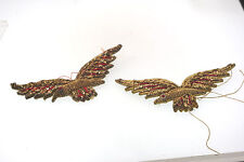 """2-VINTAGE HANDCRAFTED BIRD IN FLIGHT MILITARY? CLOTH PATCHES 2.5"""" L  RED & GOLD"""