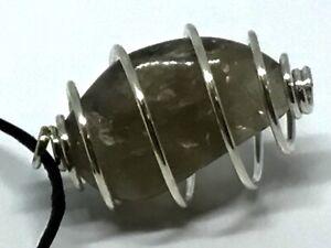SMOKEY QUARTZ Tumble Stone Caged Pendant On Cord Pagan Wiccan Natural Stone J106