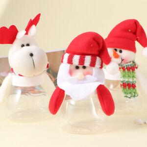 3pcs Christmas Candy Jar Storage Bottle Santa Xmas Sweet Gift Bag Box For Kids