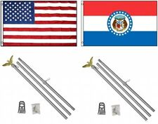 3x5 Usa American & State of Missouri Flag & 2 Aluminum Pole Kit Sets 3'x5'