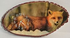 Fox Lover Clock on Primitive Wood Plaque 18 x 9 in Oval Shellac Bark Handmade