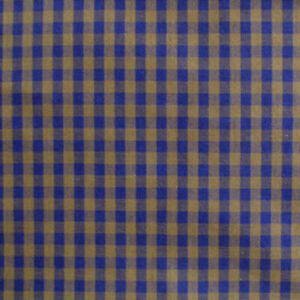 """1-3/4 Yds by 36"""" Wide Vintage Navy & Brown Check Cotton Fabric, Pristine"""