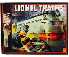Lionel Locomotive Train Metal Tin Ad Sign 1935 Vtg Picture Poster Railway Model